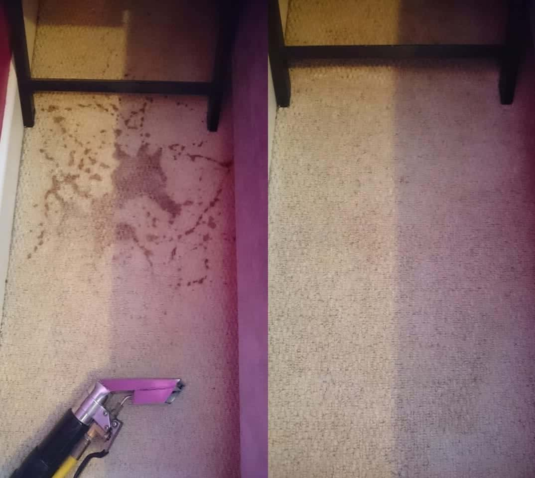 Drink spill, before and after clean